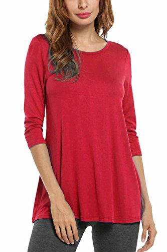 HOTOUCH Women Basic Round Neck 3/4 Sleeve A-line Loose Casual T Shirt Tunic Top Red XL
