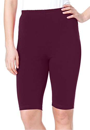 Women's Plus Size Bike Shorts In Comfy Stretch Fabric Midnight Berry,L