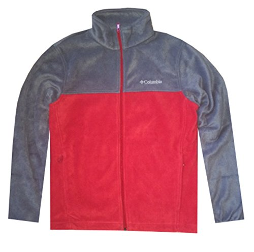 COLUMBIA Men Granite Mountain Fleece Full-Zip Logo Jacket (L, Red/grey) - Logo Fleece Jacket