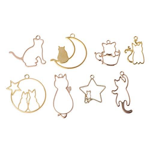 SimpleLif 8Pieces Cat On Moon Frame Pendant Bezel Setting Cabochon Setting UV Resin Charm -