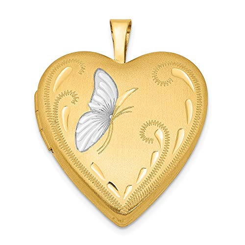 1/20 Gold Filled Butterfly 19mm Heart Photo Pendant Charm...