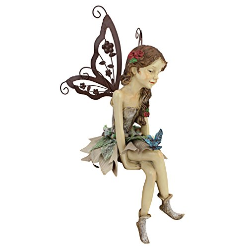 Design Toscano Fannie the Garden Fairy Sitting Statue, 12 Inch, Polyresin, Full Color