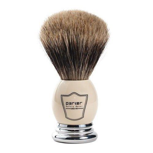 Parker Safety Razor 100% Extra Dense Best Badger Bristle Shaving Brush with White & Chrome Handle -- Free Brush Stand Included