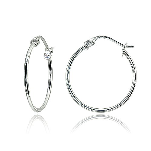 - Sterling Silver Small 20mm High Polished Round Thin Lightweight Unisex Click-Top Hoop Earrings