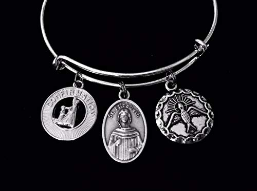 Confirmation Jewelry Saint Elizabeth Expandable Charm Bracelet Silver Adjustable Bangle Medal Catholic Gift Dove Mother of St. John the Baptist Personalization and Custom Options Available