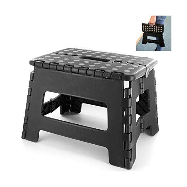 LNG Marchepied Pliable – Tabouret Pliant – Facile d'utilisation – Pratique – Rehausseur – Noir – 22x22x29cm / Charge max 120kg Noir, Gris