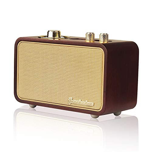 Trenbader Artlink Wireless Speaker Portable Bluetooth Speakers with Radio Retro, Rechargeable Subwoofer and Super Bass for Home Office Travel Outdoor, Build in Mic, Natural Real Wood