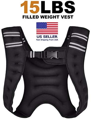 FITNESS MANIAC Weighted Vest for Men and Women – Evenly Distributed Weight Comfortable Vest for Maximum Performance with Water Bottle Holder 10 lb15 lbs 20-Pound
