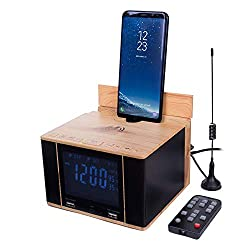 SonicCharge Bluetooth Speaker Alarm Clock and Universal Phone Docking Station - Wireless Charger, 2 USB Ports, AUX, and Full Display with Date, Time, Temperature