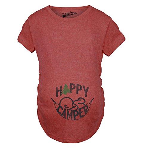 Crazy Dog TShirts - Maternity Happy Camper Maternity Shirts Camping T shirt for Pregnant Women Cheap (Red) XXL - damen - XXL