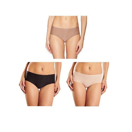 Laser Hipster Cut Underwear (Chantelle Women's Soft Stretch Regular Rise Hipster, Ultra Nude/Black/Hazelnut, One Size)