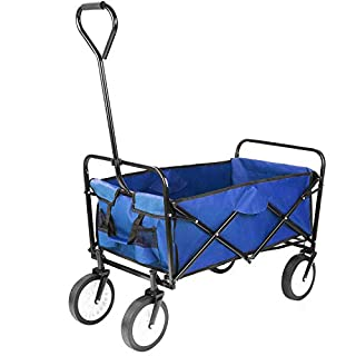 FIXKIT Collapsible Outdoor Utility Wagon, Folding Sturdy Garden Shopping Cart for Beach with All-Terrain Wheels