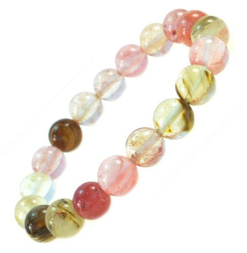 Pink Cherry Created Quartz Gemstone Bracelet