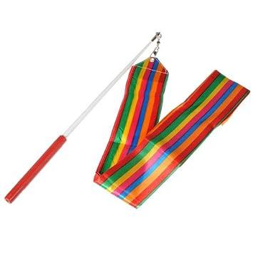 KINGSO 4M Ruban Danse Gymnastique Rythmique Streamer Rod Ribbon Gym Art  Sport Baton Loisir-Multicolore 2f8c5530ef1