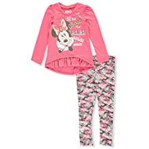 """Minnie Mouse Little Girls' Toddler """"Bows! Bows! Bows!"""" 2-Piece Outfit"""