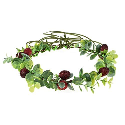 Floral Fall Succulent Flower Crown Green Leaf Headpiece Wedding Bridal Eucalyptus Halo Maternity Photo Props FL-01 (Eucalyptus Strawberry)