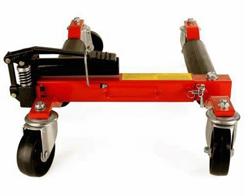 (4) Dragway Tools Hydraulic Wheel Dolly 12'' Wide Lift Jack Hoist 1500 lb Shop Tool Foot Pump and Storage Stand by Dragway Tools (Image #6)