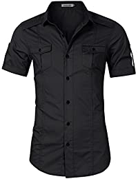 Men's Casual Slim Fit Cargo Shirt Long Sleeve Work Shirt Dress Shirt Tactical Shirt Outdoors