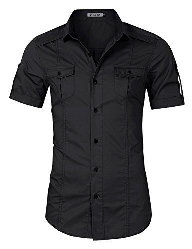 Black Casual Shirt (Kuulee Men's Casual Slim Fit Short Sleeve Button Down Dress Shirts Black XL)