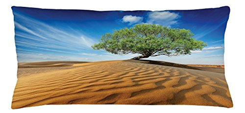 Lunarable Tree of Life Throw Pillow Cushion Cover, Tree in The Desert on Sand Dune Dry But Alive Nature Habitat Life Photo, Decorative Accent Pillow Case, 36 X 16 Inches, Blue Cream Green