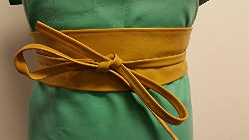 Handmade OBI MUSTARD Leather For waistline Up To 34