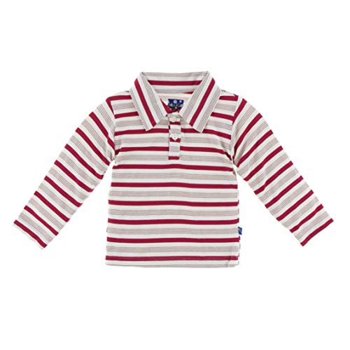Stripe Polo Coverall - Kickee Pants Little Boys Holiday Long Sleeve Polo - Rose Gold Candy Cane Stripe, 18-24 Months