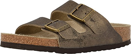 Big Sandals Buckle - Birkenstock Women's Arizona Sandal Washed Metallic Antique Gold Leather Size 39 N EU