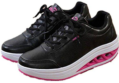Vuxen Kvinna Form Ups Walking Fitness Skor Tillfälliga Mode Sneakers Svart