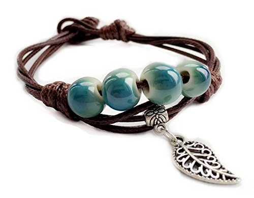 [Happiness Jewelry Fashion Women Handmade Ceramic Porcelain beads Jewelry Couple Leaf Charm Bracelet (Blue] (Cute Gothic Girl Halloween Costumes)