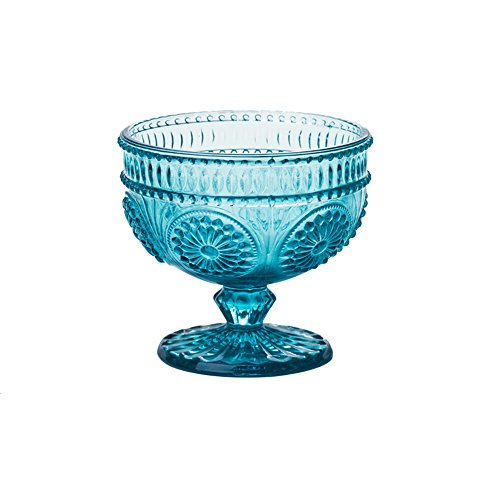 r Embossed Glass Footed Dessert Bowl Ice Cream Bowl Trifle Bowl Salad Bowl Candy Cake Bowl for Home Party Wedding 9oz (Footed Ice Cream)