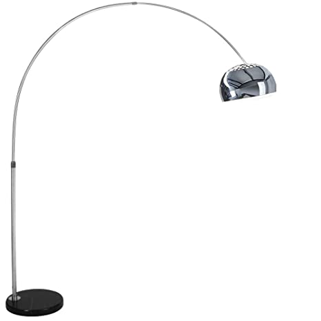 Lampada ad Arco in Alluminio con Base Rotonda in Marmo Nero ...