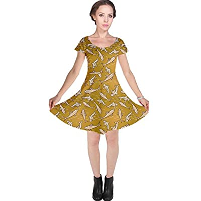 CowCow Womens Yellow Stylized Sharks Stylish Design Cap Sleeve Dress