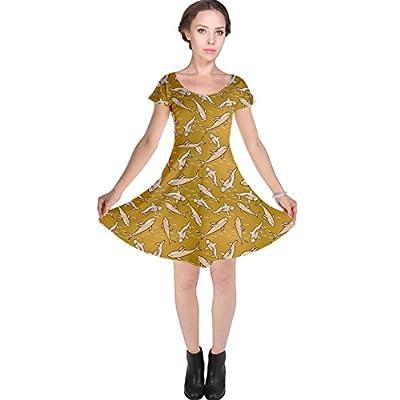 CowCow Womens Yellow Stylized Sharks Stylish Design Cap Sleeve Dress