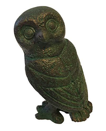 Athena Bronze Pendant - Parastone Greek Owl Head Turned Athena Miniature Statue, Green Bronze Finish
