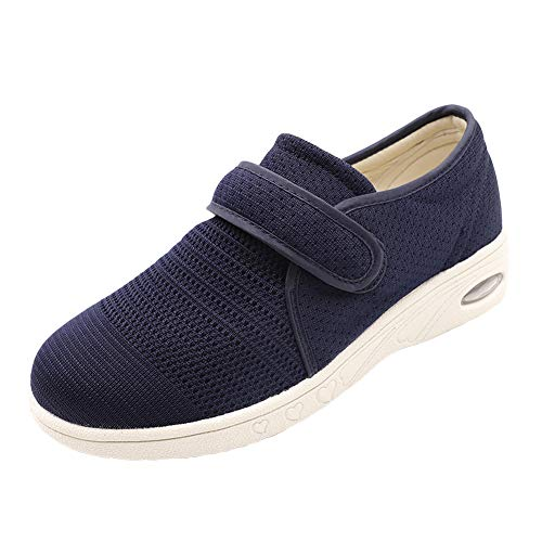 Secret Slippers Women's Air Cushion Breathable Adjustable Walking Shoes Comfy Elderly Outdoor Sneakers for Diabetic Orthopedic Edema Navy Blue (Orthopedic Sport Shoes For Women)