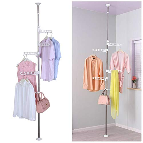 BAOYOUNI 4-Tier Standing Clothes Laundry Drying Rack Coat Hanger Organizer Floor to Ceiling Adjustable Metal Corner Tension Pole, Ivory (Floor To Ceiling Pole Shelves)