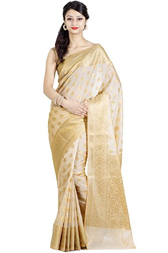 Chandrakala Beige Banarasi Cotton Silk Saree