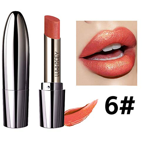 Eyret Glitter Luxury Lipsticks Moisturizing Smooth Lip Stick Metallic Lip Color Beauty Makeup Cosmetics for Women and Girls (Red 6#)
