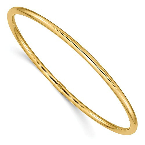 14k Yellow Gold 3mm Round Tube Slip On Bangle Bracelet Cuff Expandable Stackable Fine Jewelry Gifts For Women For Her - Gold Bangles Yellow Ice