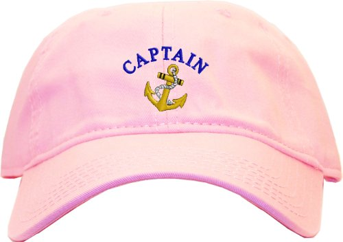 Captain with Ships Anchor Embroidered Low Profile Ball Cap - Pink ()