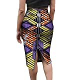 Tootless Women's African Print Short Skirts Plus Size Zip Slim Bodycon Skirt 5 L