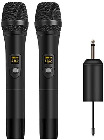 Depusheng W2 UHF - Micrófono inalámbrico con micrófono LED de mano, altavoz UHF con receptor portátil