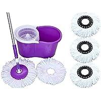 N S ENTERPRISES Best Easy Magic Floor Mop 360° Bucket (PVC) Mop with (3 Micro Fiber Refills) (Color May Vary)