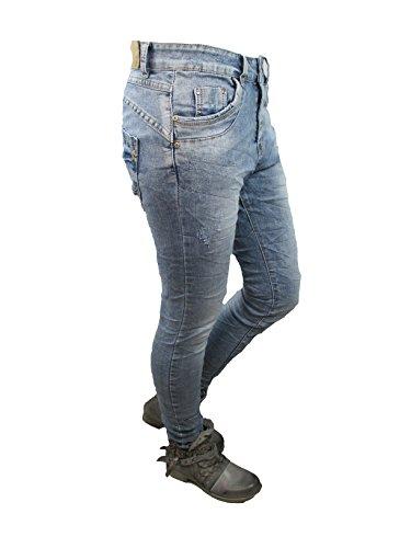 Jeans Lexxury Denim Pantaloni Usato In Donna Larghi Ragazzo Aperto Abbottonatura Stretch 6qpZO6