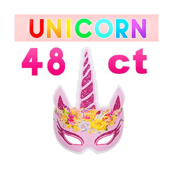Pawliss 60 Pack Unicorn Party Favors Supplies, Masks, Rings, Bracelets, Keychains, Tattoos, Kids Girls Birthday Novel… 4