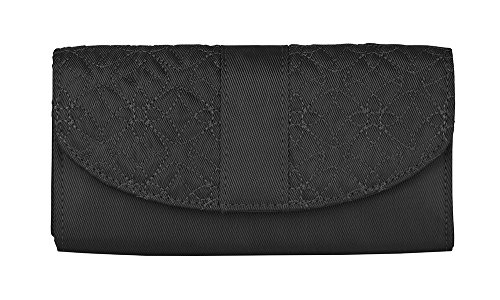 Travelon Signature Embroidered Envelope Style Wallet, Black, One (Signature Style Purse)