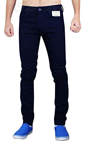 Enzo - Herren Designer Jeans Stretch Hautenge Passform Mit Bündchen Baumwolle Denim Hose - 42W x 32L, Schwarz