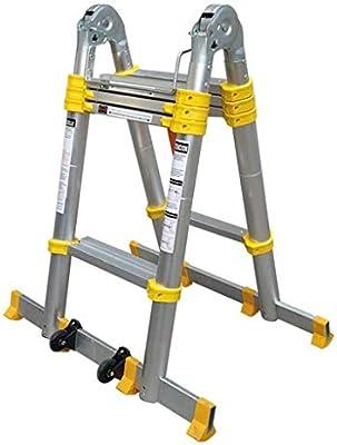 NO BRAND LCOUZ Taburete, Escaleras Telescópicas Plegable Multiusos con Barra De Soporte Escalera De Aluminio Marco A Ligero Portátil 150 Kg / 330 LB Capacidad De Carga (Size : 2.8m+2.8m): Amazon.es: Hogar