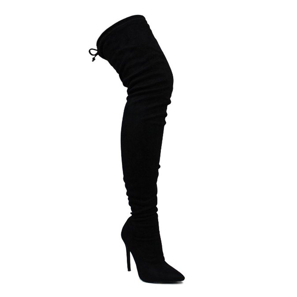 Liliana GE32 Women's Pointy Toe Drawstring Thigh High Stiletto Boots, Color:Black, Size:10