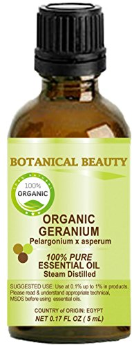 ORGANIC GERANIUM (EGYPTIAN) Essential Oil 100% Pure/ Undiluted/ Steam Distilled. 0.17 Fl.oz.- 5 ml.